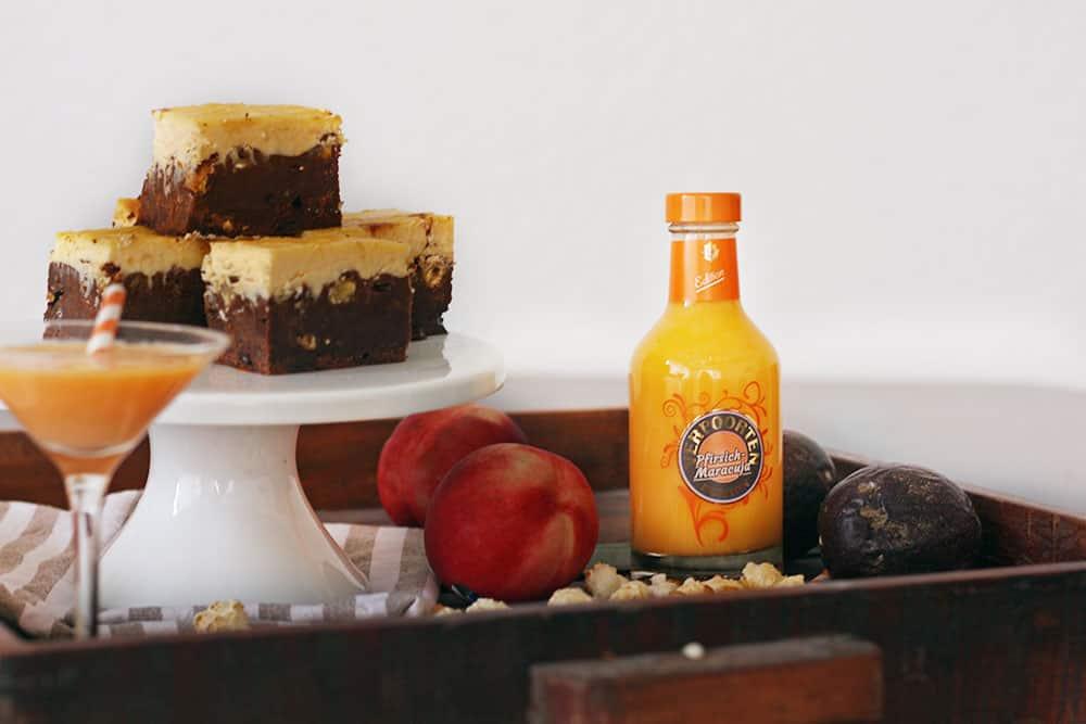 Salted-Caramel-Brownie-Eierlikör-Pfirsich-Cheesecake